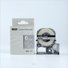 Compatible EPSON6mm LC-2TWN Label Tape White on Clear 6mm 8m lw300 400 lw500