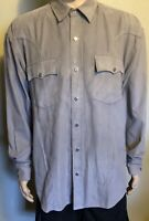 Men's Roper Long Sleeve Diamond Pearl Snap Button Front Western Shirt Gray Large
