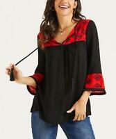 Suzanne Betro Weekend 3/4 Sleeve Geometric Tassel-Tie Notch Tunic (Black, M)