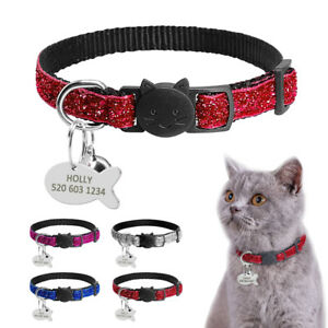 Fancy Personalized Safety Break Away Cat Collar With Bell Free Engraving 4 Color