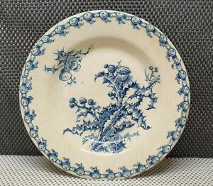 Antique Plate Bowls Porcelain Opaque Gien Collection Thistles Pattern Blue