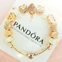 Authentic Pandora Bracelet Silver Bangle with Love Heart European Charms