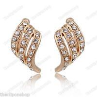 U CLIP ON crystal TWIST EARRINGS elegant HUGGIE rhinestone GOLD/SILVER PLT