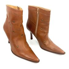 CORTESS Brown Leather Studded Pointed Toe Zip Ankle Boots Size 8.5 Med
