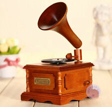WOOD PHONOGRAPH WIND UP MUSIC BOX :  MOON RIVER