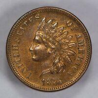 1876 1c INDIAN HEAD SMALL CENT, AU/UNC DETAILS LOT#T655