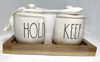 """Rae Dunn Ceramic """"Hold and Keep"""" Jars (Set of 2) Includes Tray and Spoons (NEW!)"""