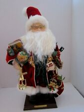 "GRANDEUR NOEL 16"" FABRIC SANTA & BOX 2000 COLLECTORS EDITION. Train Globe Toys"