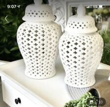 White  Ceramic Temple Ginger Jar  42 Cm   (H) Hamptons Style
