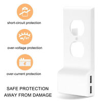 Dual USB Power Wall Plate Snap-On Charger Replacement Electrical Outlet Cover
