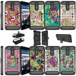 For LG Stylo 3 LG Stylus 3 Shockproof Double Layer Stand Holster Case - Flowers