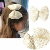 """3.5"""" White Bowknot Cute Pearls Hair Bow With Alligator HairClip For Girls Kids"""