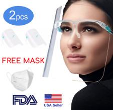 2 Pcs Full Face Shield Mask Washable Cover Tapabocas Anti-Splash Guard Mascaras