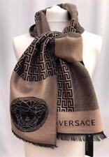 Versace Medusa Wool Beige Black Scarf -Great Gift UNISEX Made In Italy Auth  NEW