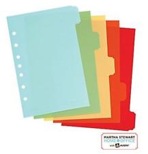 Martha Stewart Avery 5 Tab Plastic Small Binder Dividers 5 12 X 8 12 Inches