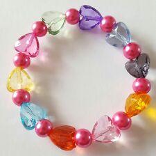 New Handmade Elasticated Multi Coloured Hearts and Glass Pearl Beaded Bracelet