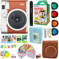 Fujifilm Instax Mini 90 Neo Instant Film Camera (Brown) + 20 Film Acc Bundle