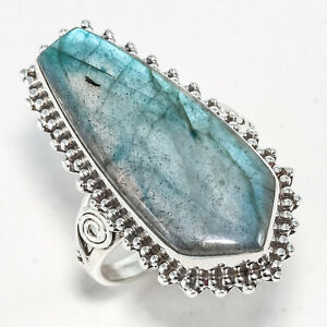 LABRADORITE NATURAL GEMSTONE 925 STERLING SILVER HANDMADE JEWELRY RING 3 to 12