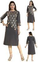 Women Indian Printed Ethnic Shirt Grey Kurti Tunic Kurta Shirt DressTop SC2302
