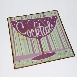 "Cocktails Martini Glass Outdoor Tin Metal Sign MCM Mid Century Look 12"" (TT)"