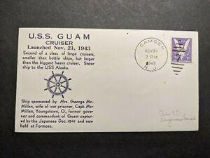 USS GUAM CB-2 Naval Cover 1943 WWII Launch Cachet Camden, NJ