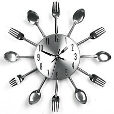 Sliver Home Decoration Cutlery Kitchen Utensil Spoon Fork Clock Wall Clock