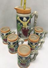 VTG SET JAPANESE BEER PITCHER WITH  MUGS STEINS JAPAN GERMAN STYLE