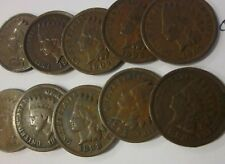 Ten different Indian Head Cents, 1881 to 1907, circulated
