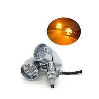 2x Chrome Motorcycle LED Turn Signal indicator Light Harley cafe racer custom XL