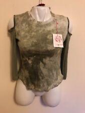 La Petite Francaise Camouflage Olive Top Cold Shoulders Junior M/L 100% Cotton