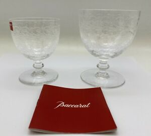 Baccarat Rohan Water Glass & Claret Set Crystal Etched Scrolls Signed + Boxes