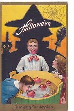 OLD VINTAGE POSTCARD HALLOWEEN LADY DUCKING FOR APPLES WITCH BLACK CAT