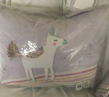 "Pottery Barn Kids Molly Unicorn Purple Decorative Pillow 12"" X 12"" New"