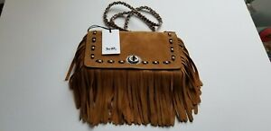 NWT Coach Brown Suede Fringe Dinky Oak Bag Purse Leather Rivets Chain Clutch Tan