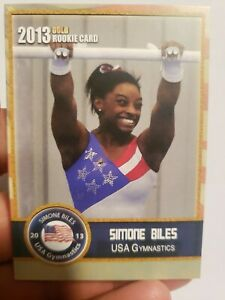 2013 SIMONE BILES TEAM USA VERY FIRST EVER GOLD OLYMPIC GYMNASTIC ROOKIE  CARD!