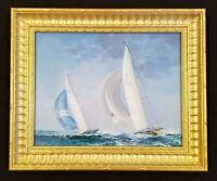 Antique Yacht Race Original Oil Painting Schooner Sailboat Race Seascape Art
