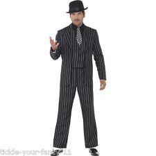 CA270 Mens Gangster Boss Mob 20s 1920s Pinstripes Pimp Suit Fancy Dress Costume