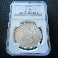 1887 morgan silver dollar graded MS-63 by NGC, no reserve auction