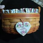 """Longaberger 1995 Mother's Day Basket with protector & Liner - 8 1/2"""" x 3 1/2"""""""