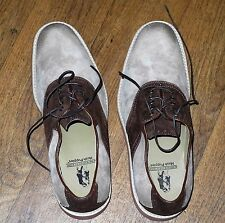 NEW HUSH PUPPIES Taupe/Red Brown Suede Saddle Oxfords Men's Size 10