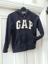 GAP Fleece zip up zipped Hoodie Navy blue Medium Age 8-9 yrs years grey hood boy