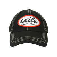 Exile Oval Logo Washed Chino Distressed Official Baseball Cap Custom Motorcycle