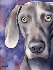 WEIMARANER Watercolor DOG 8 x 10 Art Print Signed by Artist DJR
