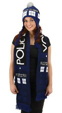 "Doctor Who Knitted 74"" x 8"" Blue Tardis Design Scarf Licensed NEW UNUSED"