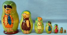 Hand Painted Flintstones Matryoshka Russian Nesting Wooden Dolls 7 Piece Set
