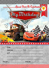 Fête D'Anniversaire Invitations Disney Cars Lightning McQueen Disney Cars 8 cartes