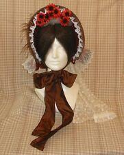 Smashing! Repro Civil War Era Lady's Paprika Cloth Bonnet with Detachable Veil!