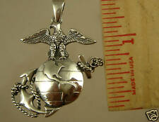 US MARINE CORPS Licensed USMC NEW PENDANT 1/2 DOLLAR SIZE .925
