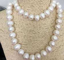 "34"" 100% NATURAL 12-13MM WHITE SOUTH SEA BAROQUE PEARL NECKLACE"