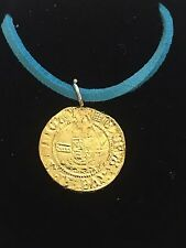 """Henry VIII Half Angel Coin WC47 Gold English Pewter On a 18"""" Blue Cord Necklace"""